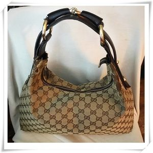 GUCCI GG Canvas,Leather Trim, Web Horsebit Hobo